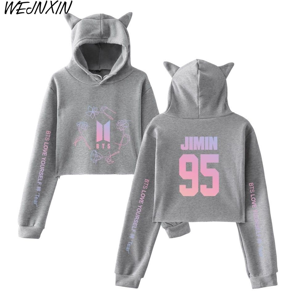 b20ffee958645 WEJNXIN New BTS Love Yourself Turn Tear Name Design Women Cat Hood Hoodies  Girl Sweatshirt Kpop