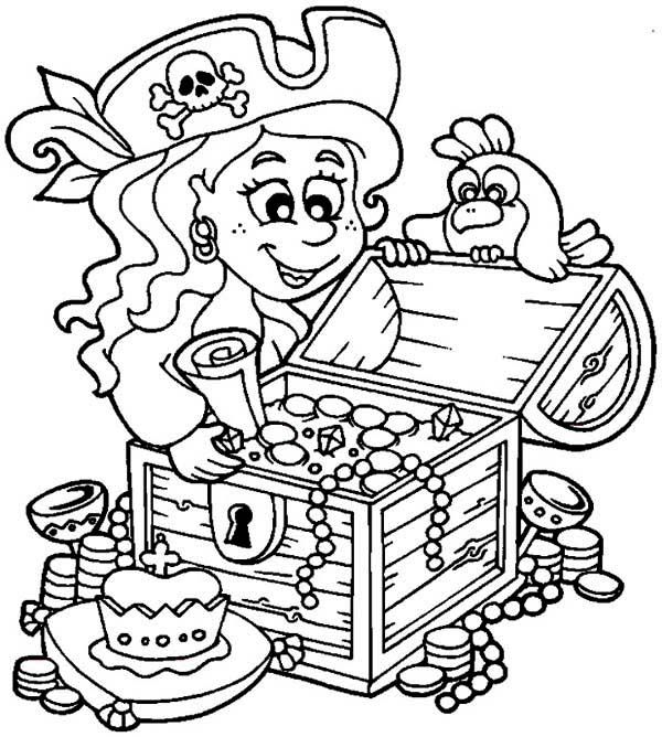 Treasure Chest Little Pirate Girl and Her Treasure Chest Coloring