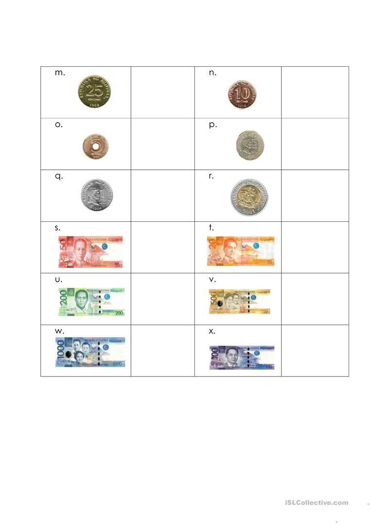 Money Worksheet-Philippines - English ESL Worksheets   Money worksheets [ 1079 x 763 Pixel ]