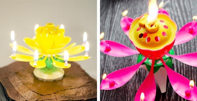 Musical Spinning Lotus Birthday Candle