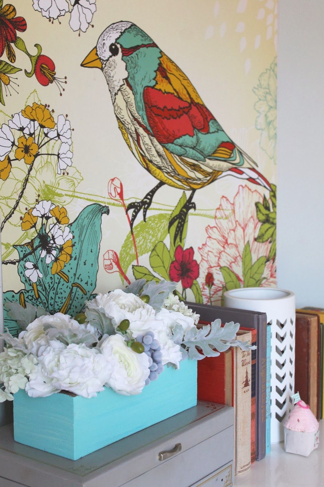 Girls Room Makeover. Large, Colorful Bird Painting Hanging Above  Dresser...in