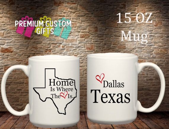 Super Cute State Mugs Available. Put your home state and town on a mug to show your hometown pride. Any state, Any city. #hometownpride #personalizedmugs