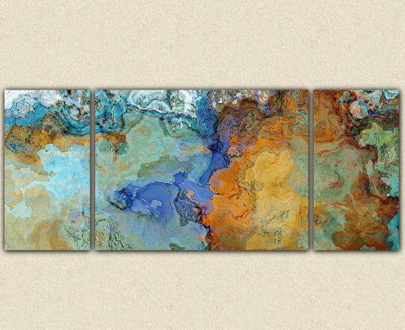 """Gran pared abstracto arte lienzo impresión, triptico de 30 x 72 a 40 x 90 en tonos tierra y azul, de """"Cruzando el puente"""" la pintura abstracta"""