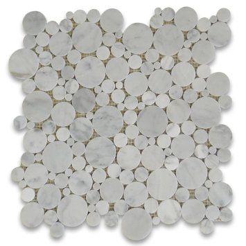 Carrara White Italian Carrera Marble Bubble Round Mosaic Tile