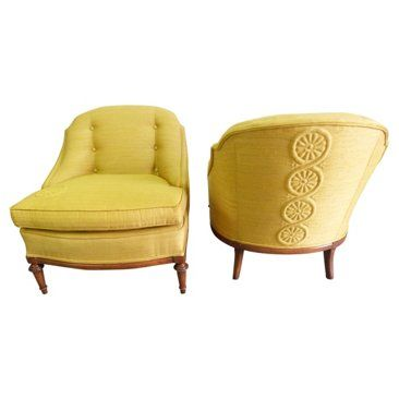 Check out this item at One Kings Lane! 1950s Chartreuse Slipper Chairs, Pair