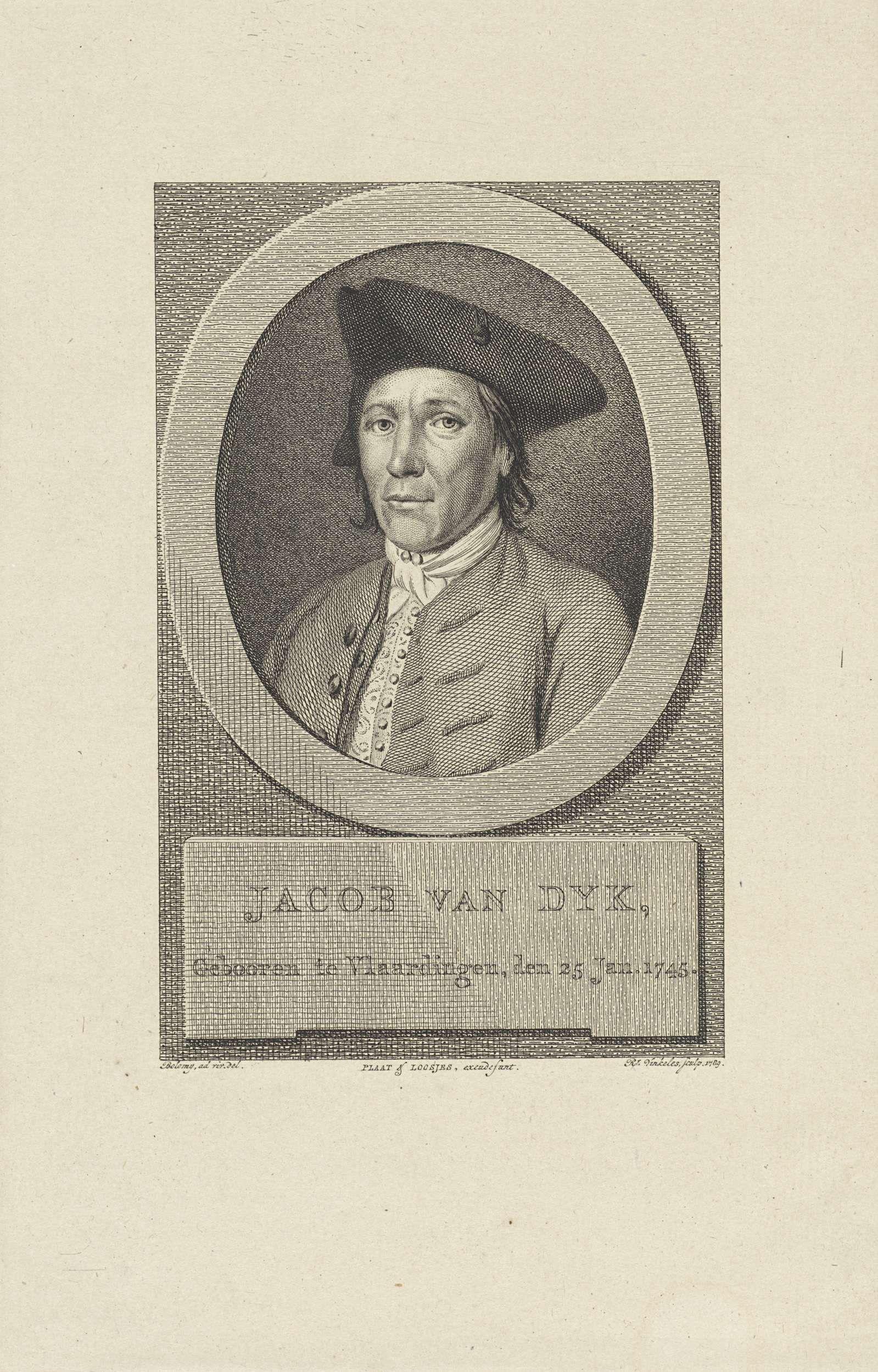 Reinier Vinkeles | Portret van Jacob van Dyk, Reinier Vinkeles, Plaat & Loosjes, 1789 | Portret van de dichter Jacob van Dyk.