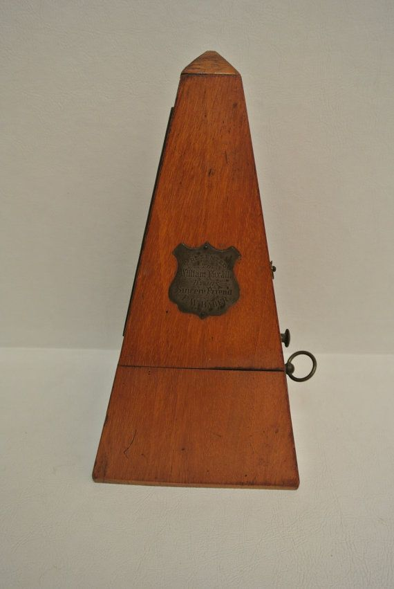 Antique Early 1900s Victorian Wood Metronome in Running Condition with Dedication Plaque on Door Victorian Musical Instrument