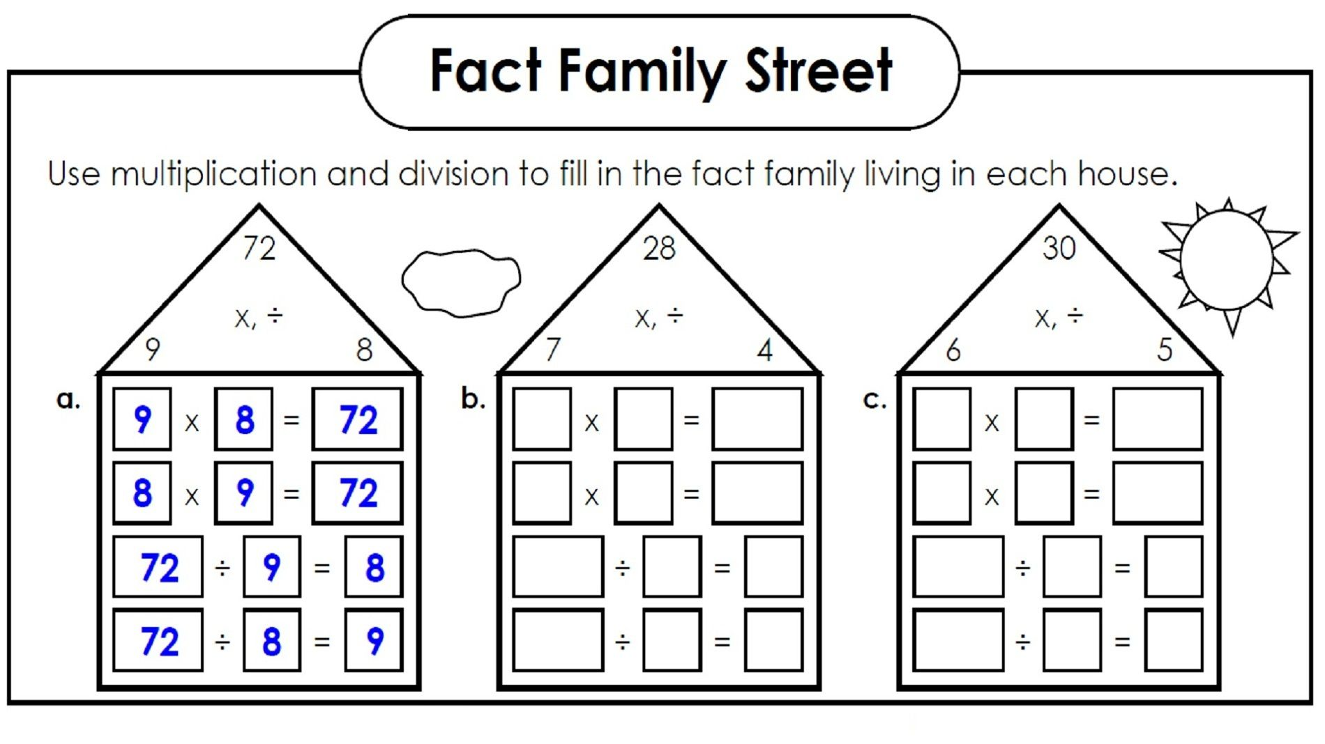 Family Facts Math Worksheets