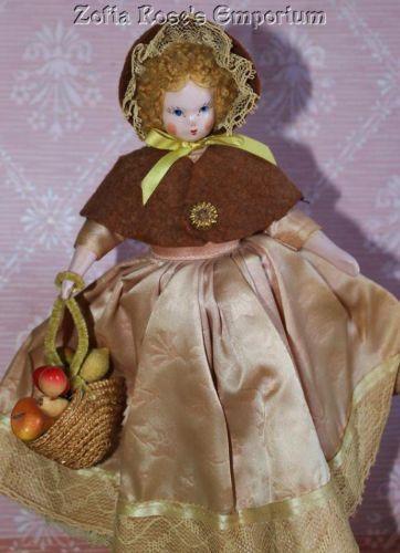 RUTH GIBBS~RARE DOLL~ALL ORIGINAL~Mohair Wig~Colonial Dress, Felt Shoulder Cape