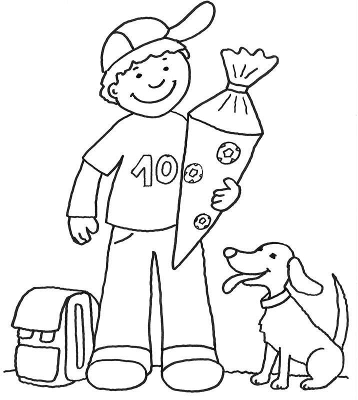 Ausmalbild Einschulung Junge mit Schultüte kostenlos