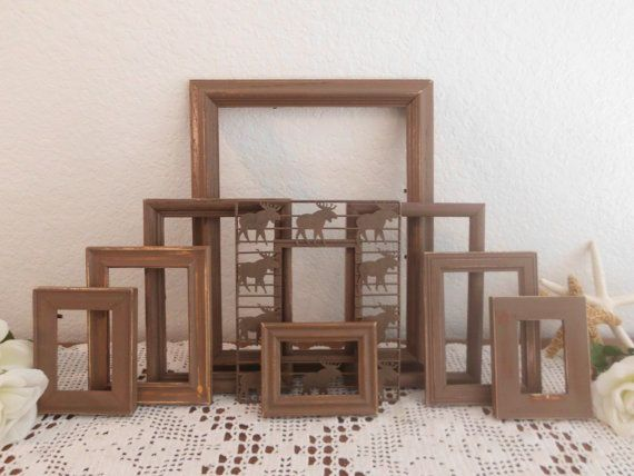 Rustic Brown Picture Frame Set Shabby Chic by ElegantSeashore, $89.99