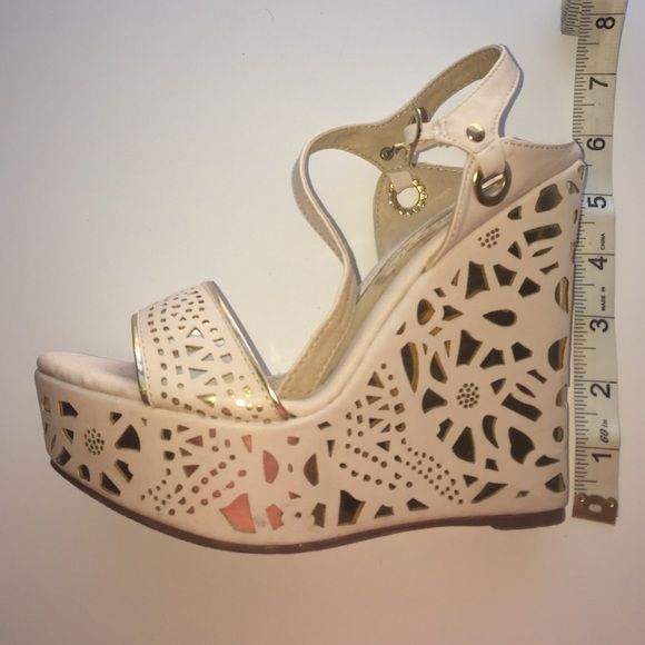 Gold and cream wedges Gold and cream wedges worn once Shoes Wedges