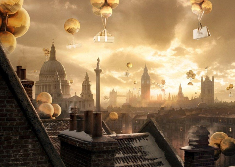 Golden Balloons Carrying Gorgeous Presents Float Above London In Burberrys Christmas Campaign Images