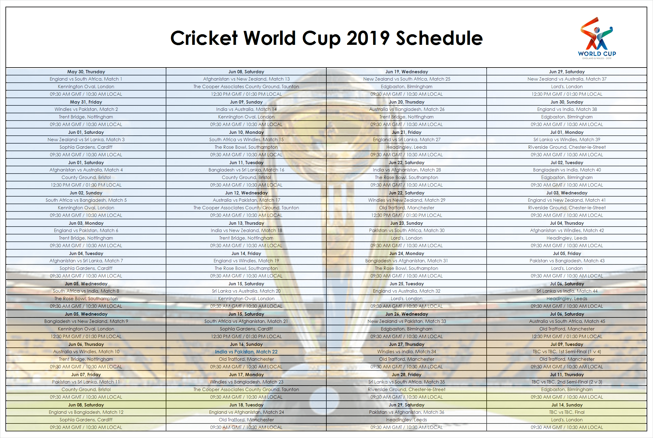 Download a picture of world cup cricket 2019 schedule bangladesh