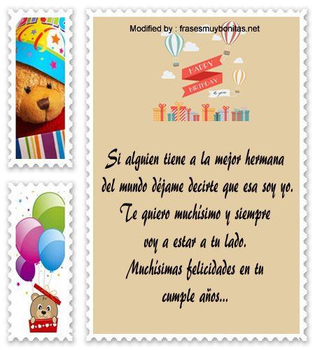 Saludos de cumpleaños para una hermana que está lejos hermana Frases cumpleaños, Cumpleaños