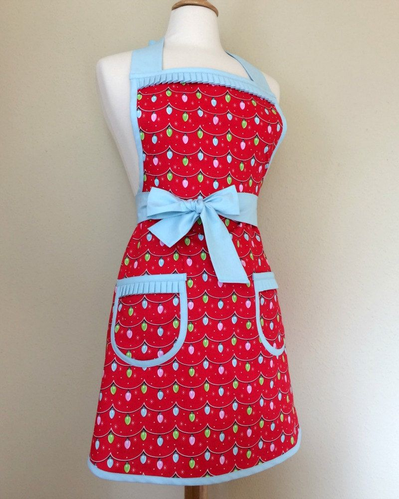 Retro Christmas Apron Red Green Baby Blue Vintage Twinkle Lights Kitschy Retro Christmas Kitchen Decor Rockabilly Home Decor Hostess Gift