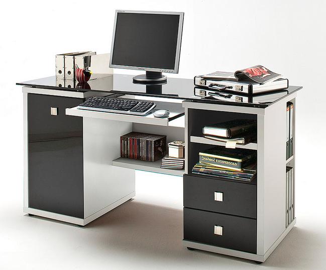 Schreibtisch weiß hochglanz ikea  Schreibtisch weiß ikea kleiner schrank türen und schubladen mit ...