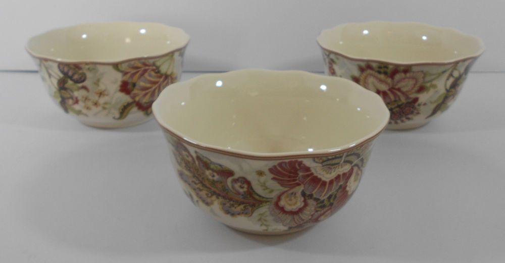222 Fifth Gabrielle Cream Cereal Soup Bowls Set of 3 New Porcelain ...