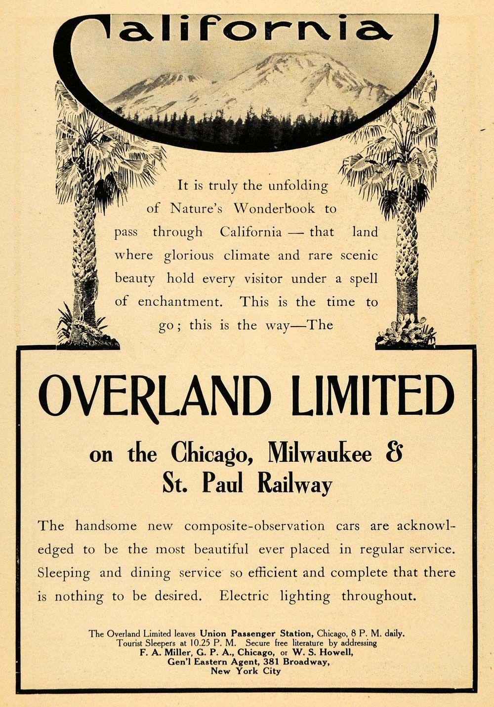 1907 ad overland limited chicago milwaukee st paul railway train