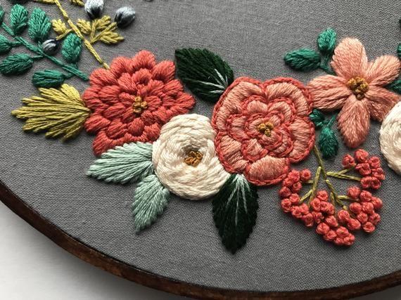 Embroidery Hoop Art Beginner Embroidery Kit Gift for Women Hand Embroidery Kit Modern Embroidery Modern Cross Stitch Hoffelt and Hooper