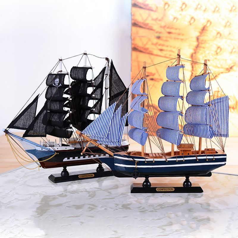 Wooden Boats Ship Sailboat Model Craft Carving Nautical Sailing Ship Model Mediterranean Style Boats Home Decor In Figurines Miniatures From Home Garden On