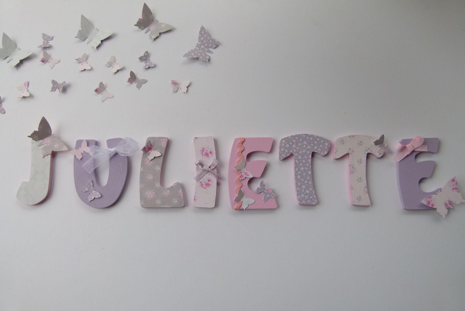 lettres prenom bois juliette imprime tilda sur commande d coration pour enfants par joli mai. Black Bedroom Furniture Sets. Home Design Ideas