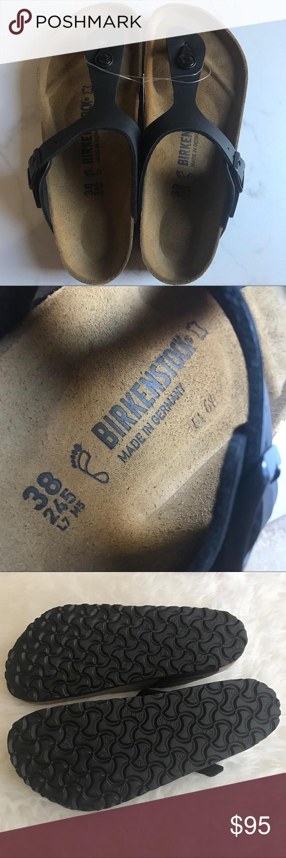 Black sandals size 7 - Birkenstock Gizeh Black Sandals Size 38 7 Birkenstock Gizeh Black Sandals Size 38