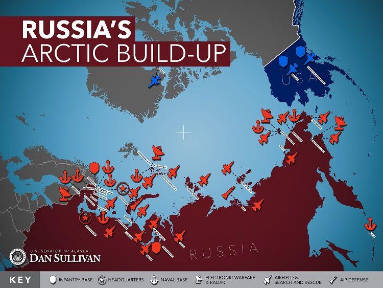 Карта американского сенатора Дэна Салливана: наращивание российского военного присутствия в Арктике.