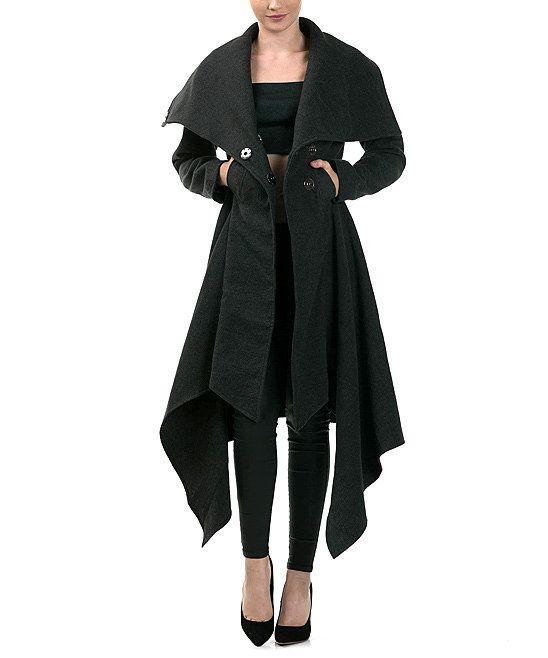 Charcoal Wide-Lapel Asymmetrical Coat