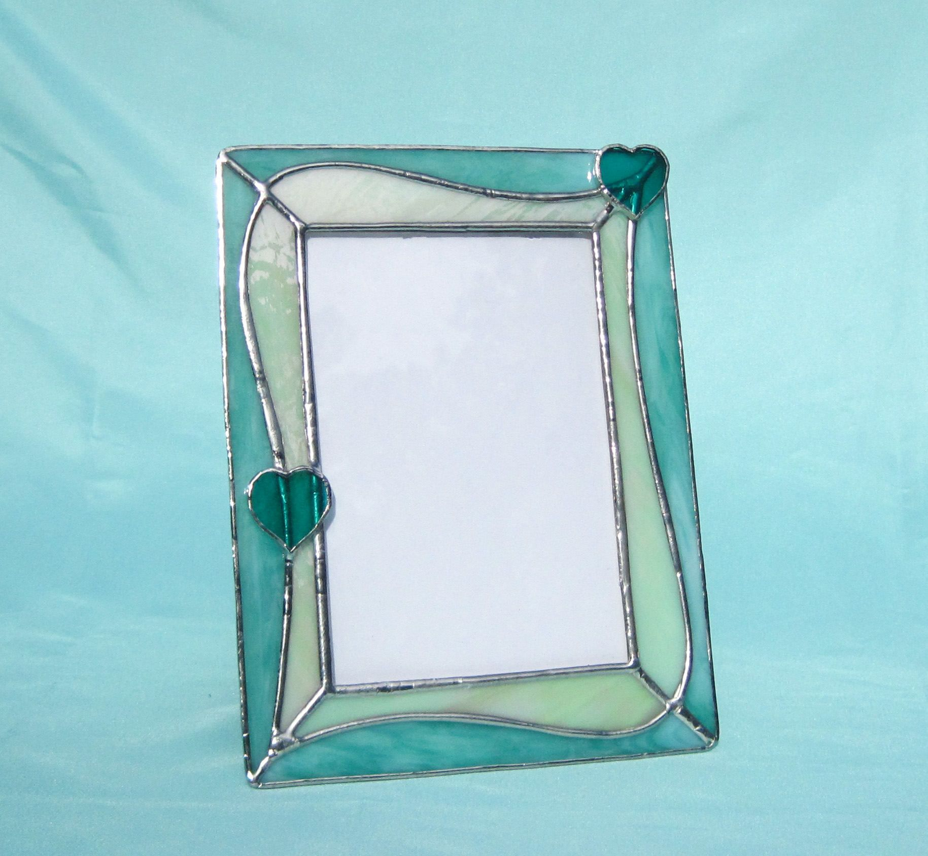 2 Hearts \'n Aqua Swirls 5 x 7 Stained Glass Picture Frame Baby Frame ...