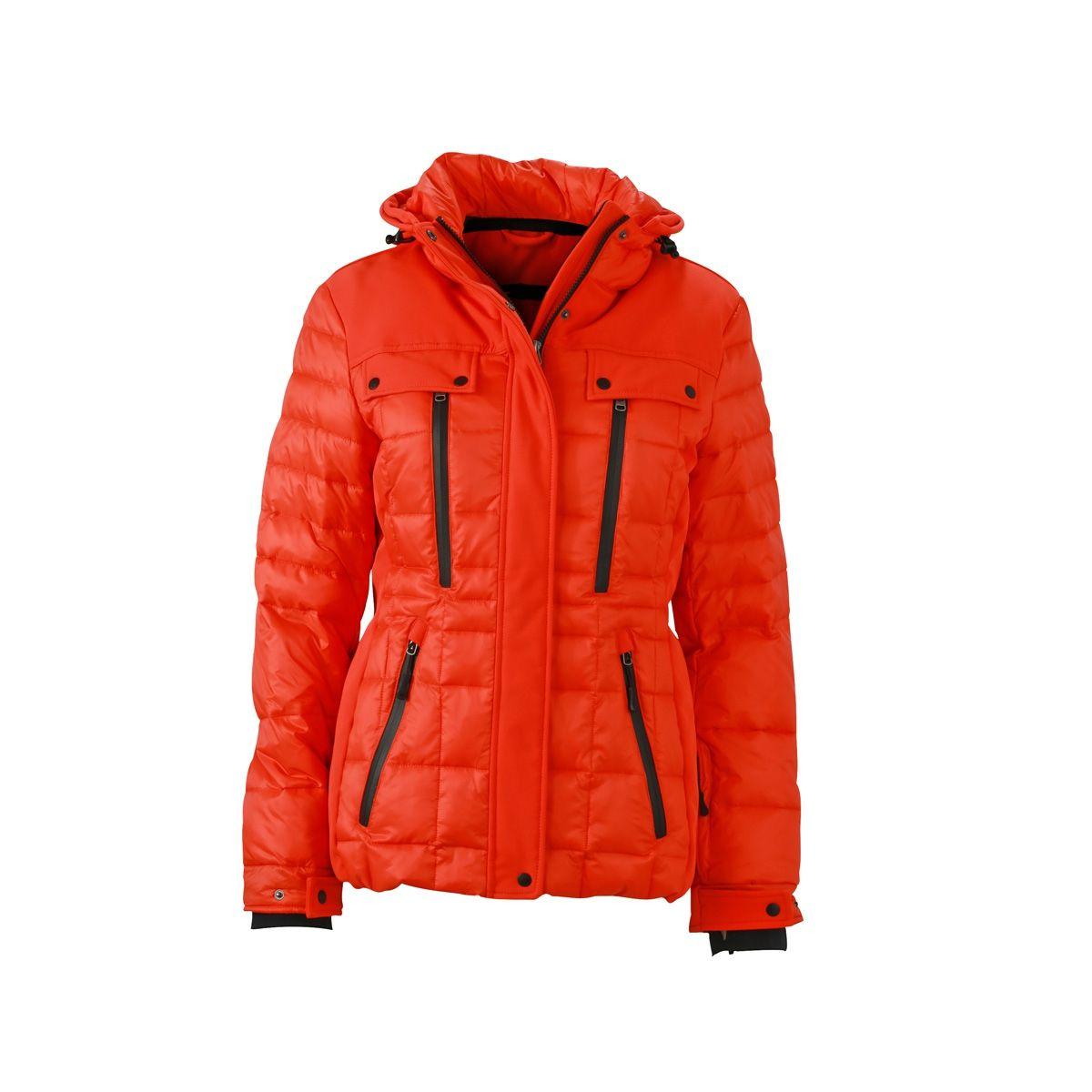 blazer doudoune femme,Doudoune Femme Matelasse Orange Rouge