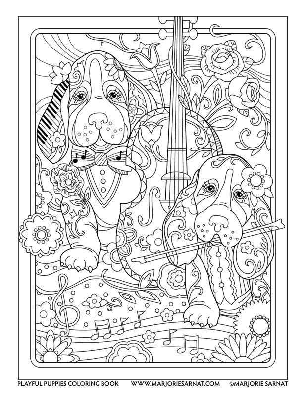 Violinists Playful Puppies Coloring Book By Marjorie