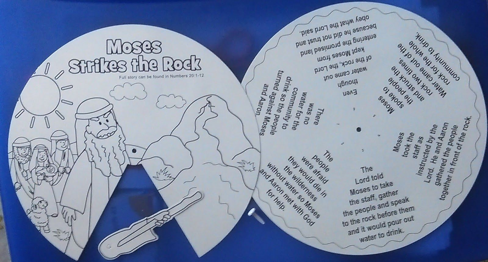 Colour Your Own Moses Strikes The Rock Wheel Bible Crafts Moses