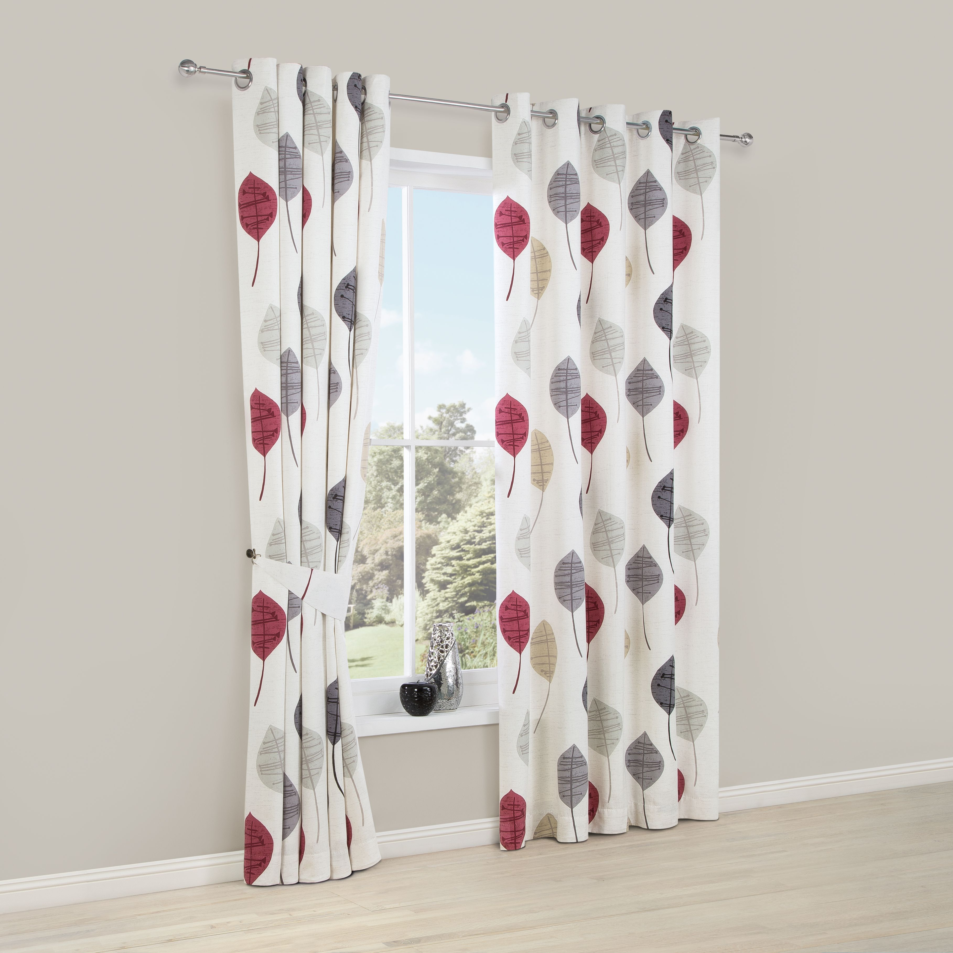 Dario Beige Grey Red White Floral Print Printed Eyelet Curtains W 228cm L 228cm Departments D Red And White Curtains Printed Curtains Living Room Red