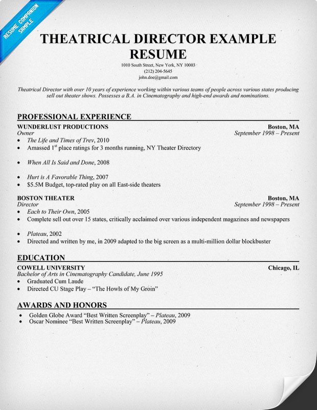 Theatrical #Director Resume Example (resumecompanion) Resume - actor resume format