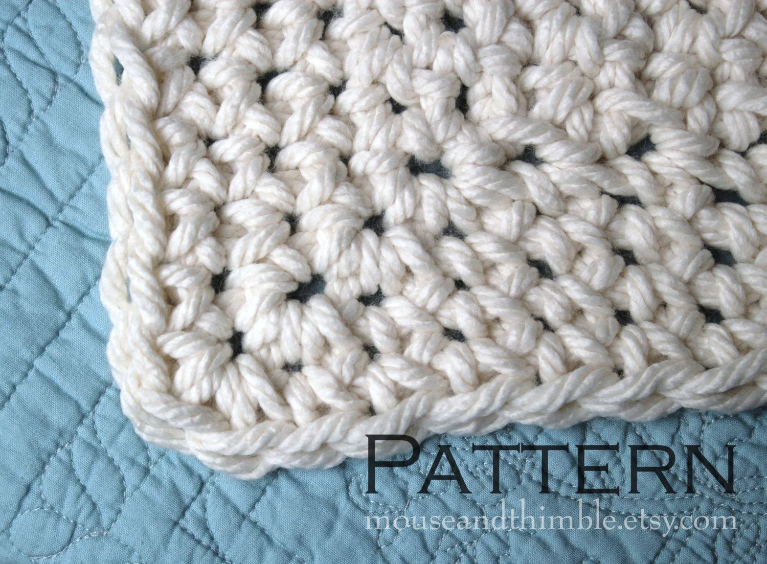 Crochet PATTERN / Easy / Queen Size Chunky Afghan Blanket / 85\