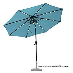 C Hopetree 9u0027 Octagonal Outdoor Auto Tilt Solar LED Patio Umbrella With  Solar Rechargable 32 LEDs And 1 Central LED Hub Light, 250 Gsm Fade  Resistant UV ...