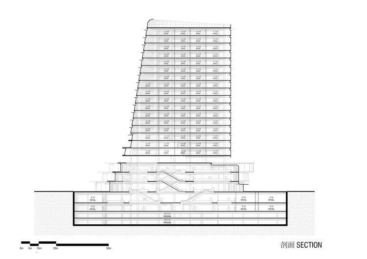 Section. Image Courtesy of Aedas