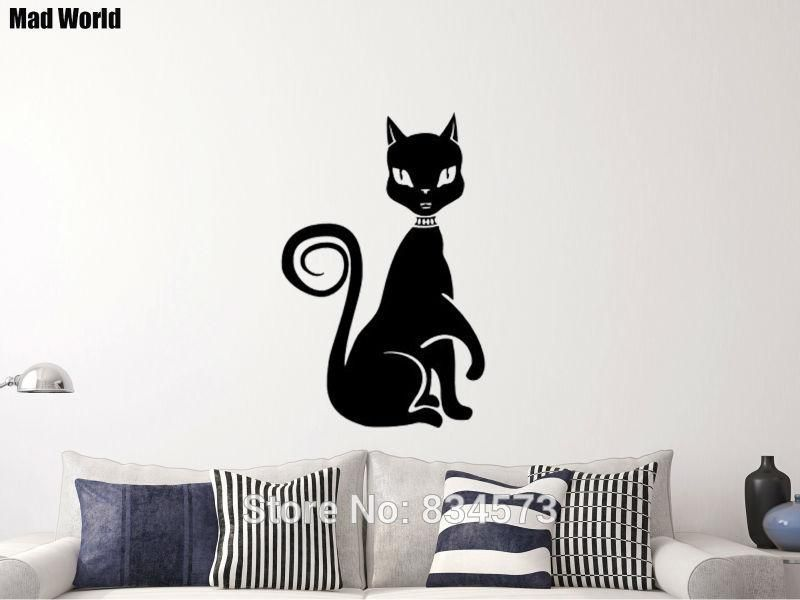 Mad World-Cute Egyptian Cat Silhouette animal Wall Art Sticker ...