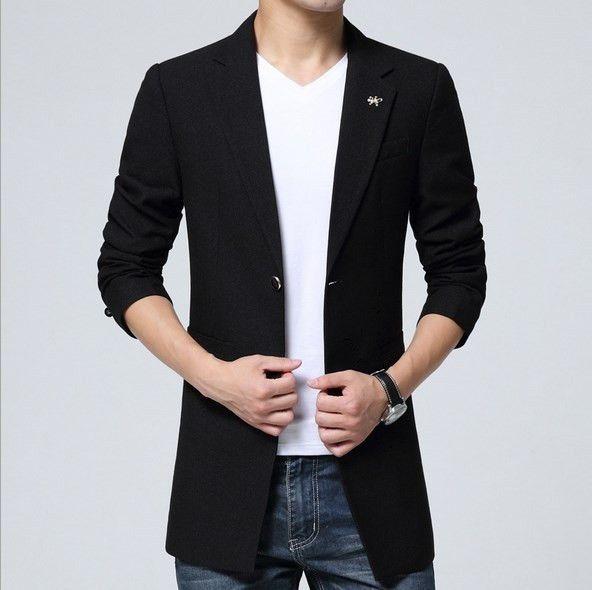 Plus Size Mens Leisure Slim Fit Long Blazer Jacket For Men Spring Autumn  Winter Masculine Blazer