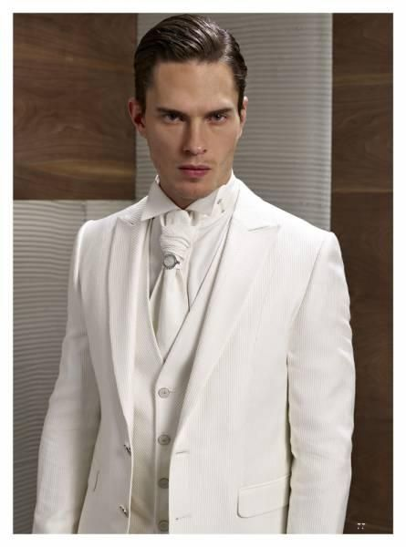 Custom Design Two Button Ivory Groom Tuxedos Groomsmen Mens Wedding ...