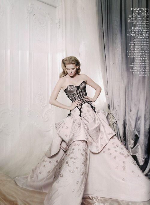 Lara Stone in Dior Haute Couture by Mario Testino