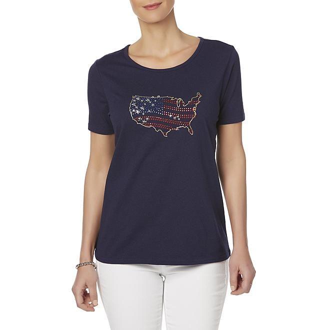 f5099a6198b Basic Editions Basic Editions Women s Embellished T-Shirt - U.S.A. ...