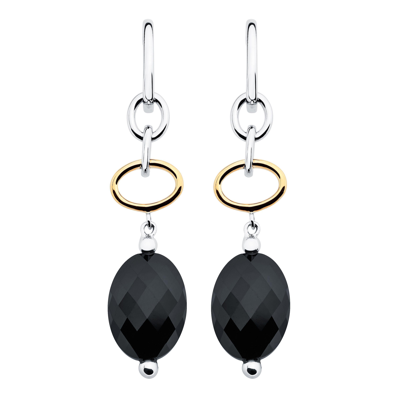 Boston Bay Diamonds 18k Yellow Gold and Sterling Silver 10x14mm Oval-cut Onyx Earrings
