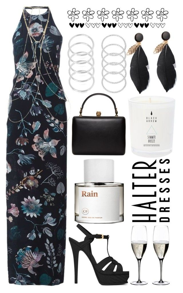 """""""halter"""" by michelledhrm ❤ liked on Polyvore featuring Versus, Yves Saint Laurent, New Look, Riedel, Alexander McQueen and halterdresses"""