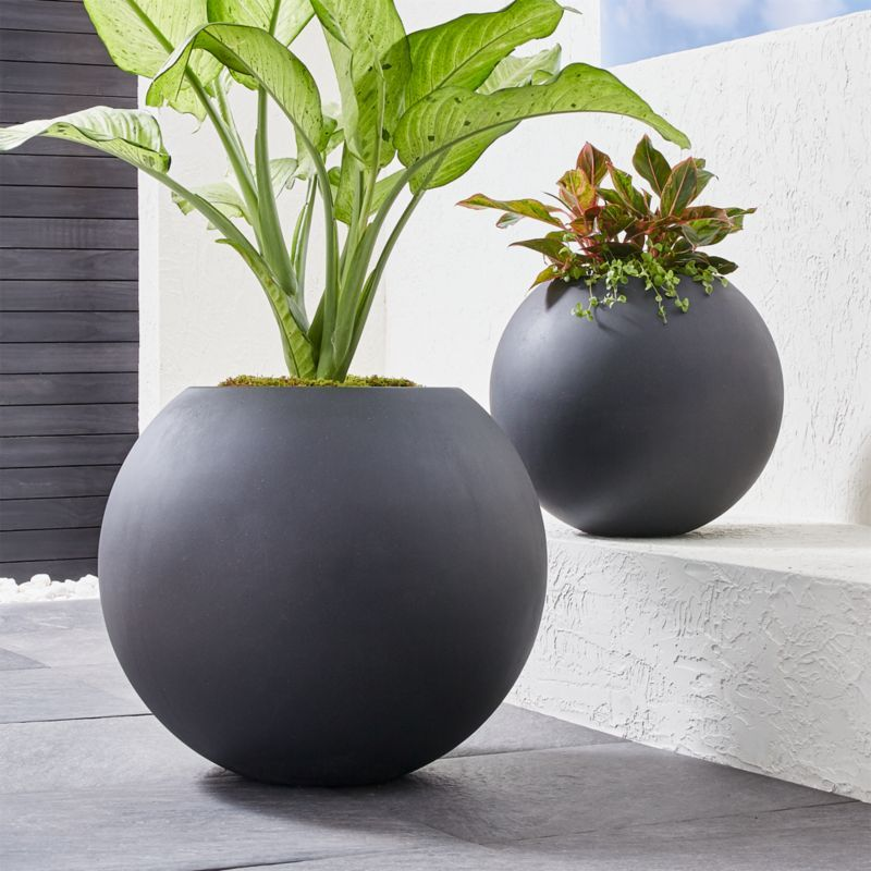 Sphere Dark Gray Planters Crate And Barrel With Images 640 x 480