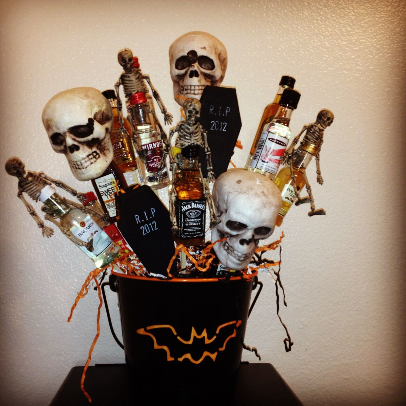Halloween Event Ideas For Adults: Halloween Theme Gift Basket With Mini Bottles! Cost Under