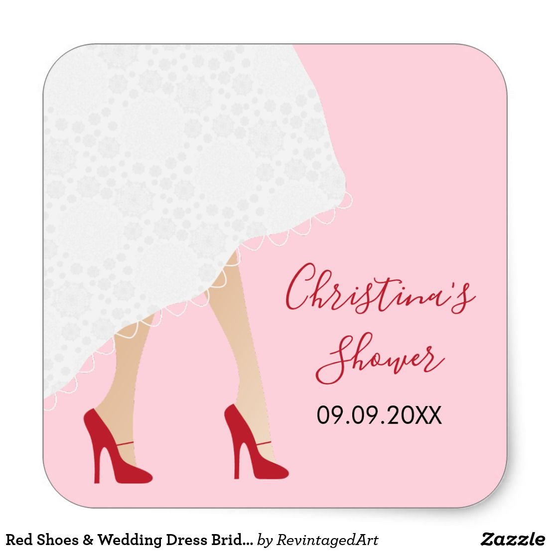 Red dress shoes for wedding  Red Shoes u Wedding Dress Bridal Shower Stickers  For the Bride to