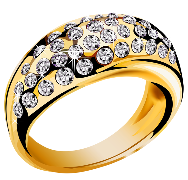 Gold ring with white diamonds