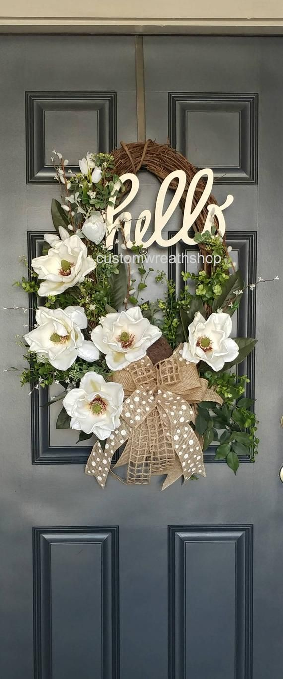 Photo of BEST SELLING WREATH, grapevine wreath, spring wreath, front door wreath, Mother's Day gift, elegant wreath, magnolia wreath, wreaths for the door